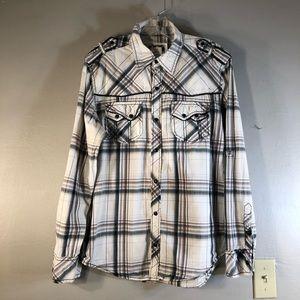 BKE Plaid Western Style Shirt